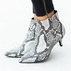 Women's Suede Kitten Heel Pumps With Animal Print shoes