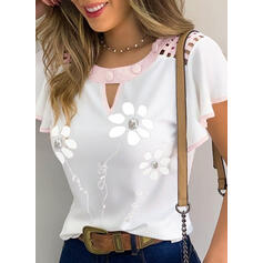 Floral Round Neck Flare Sleeve Short Sleeves Casual Blouses