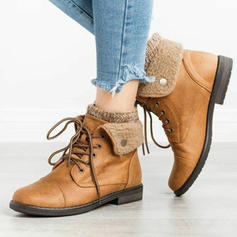 Women's PU Low Heel Boots Martin Boots With Lace-up shoes