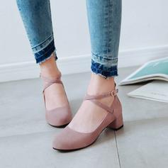 Donna PU Tacco spesso Stiletto con Fibbia scarpe