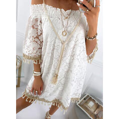 Lace/Tassel 3/4 Sleeves Shift Above Knee Casual/Vacation Tunic Dresses