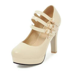 Women's PU Chunky Heel Pumps Platform Closed Toe With Buckle shoes