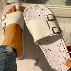 Women's PU Flat Heel Sandals Slippers With Buckle shoes
