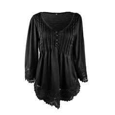 Solid V Neck 3/4 Sleeves Button Up Casual Elegant Blouses