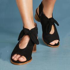 De mujer PU Tacón ancho Sandalias Encaje con Bowknot zapatos
