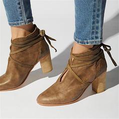 Femmes PU Talon bottier Bottines avec Dentelle chaussures