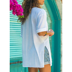 Solid Round Neck 1/2 Sleeves T-shirts