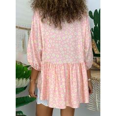 Impresión Floral Cuello en V Manga Larga Casual Tejido De Punto camiseta