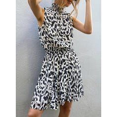 Leopard Sleeveless A-line Above Knee Casual/Vacation Dresses