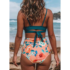 Floral High Waist Strap U-Neck Vintage Fresh Bikinis Swimsuits