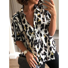 Animal Print Lapel Long Sleeves Button Up Casual Knit Shirt Blouses
