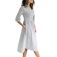 Striped 3/4 Sleeves A-line Skater Casual Midi Dresses