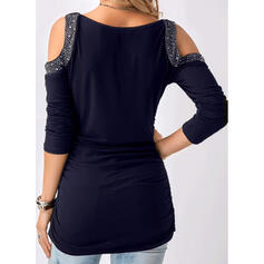 Sequins Cold Shoulder 3/4 Sleeves Casual Blouses