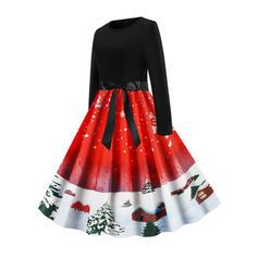 Μακρυμάνικο Φαρδύ Κάτω Μήκος Γόνατος Εποχής/Χριστούγεννα/Πάρτι/Κομψό Сукні