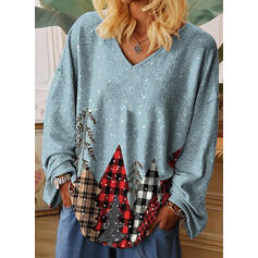 Print V-Neck Long Sleeves T-shirts