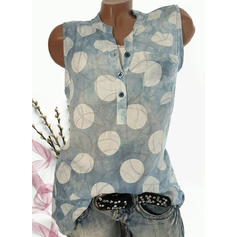 Print V Neck Sleeveless Button Up Casual Blouses