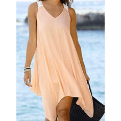Solid Sleeveless Shift Above Knee Little Black/Casual/Vacation Dresses
