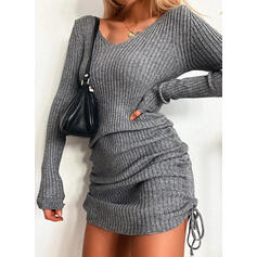 Solid V-hals Casual Lang Sweaterkjole