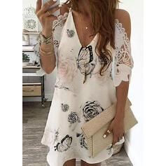 Lace/Print/Floral 3/4 Sleeves/Cold Shoulder Sleeve Shift Above Knee Casual/Elegant Dresses