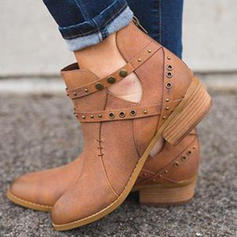 Femmes Suède Talon bottier Bottines avec Rivet Zip chaussures