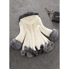 Sztuczne Futro Długie rękawy Patchworkowa Mieszanki Płaszcze