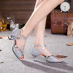 Women's Latin Heels Sandals Pumps Sparkling Glitter With Ankle Strap Hollow-out Sequin Modern