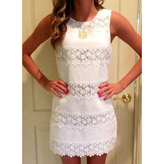 Lace/Solid Sleeveless Shift Above Knee Casual Tank Dresses