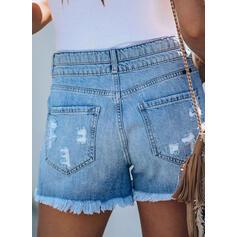 Shirred Casual Denim Shorts