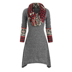 Print/Plaid Long Sleeves A-line Knee Length Christmas/Casual Skater Dresses