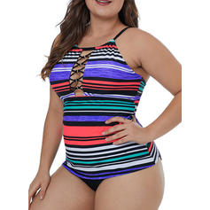 Stripe Top Halter Sexy Plus Size Tops Swimsuits