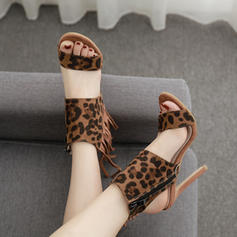 Women's PU Stiletto Heel Sandals Pumps With Animal Print shoes