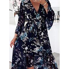 Impresión/Floral Manga Larga Vestido línea A Patinador Casual Maxi Vestidos