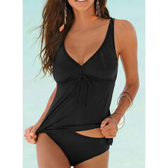 Solid Color Strap V-Neck Elegant Tankinis Swimsuits