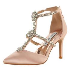 Donna Raso Tacco a spillo Punta aperta Sandalo Beach Wedding Shoes con Strass