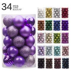 "Merry Christmas 3.15"" 34 PCS PVC Christmas Décor Ball (Set of 34)"