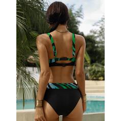 Wysoki stan Nadruk W prążki Dekolt w kształcie litery V Seksowny Wintage Duży rozmiar Bikini Stroje kąpielowe