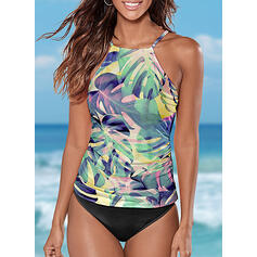 Floral Print Halter Bohemian Plus Size Tankinis Swimsuits