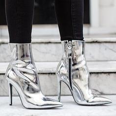 Dla kobiet Skóra Lakierowana Obcas Kaczuszka Czólenka Zakryte Palce Kozaki Botki Z Zamek błyskawiczny obuwie
