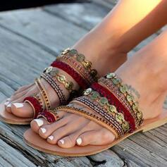 Women's PU Flat Heel Peep Toe Slippers With Sequin shoes