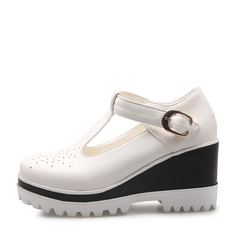 Femmes Similicuir Talon compensé Bout fermé Compensée avec Boucle chaussures