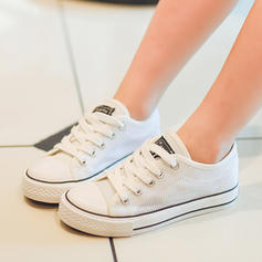 Unisex Fabric Flat Heel Closed Toe Canvas Flats Sneakers & Athletic With Lace-up Hollow-out