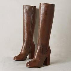 Vrouwen Kunstleer Chunky Heel Laarzen Knie Lengte Laarzen met Rits schoenen