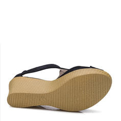 Femmes Suède Talon compensé Sandales Escarpins Plateforme Compensée À bout ouvert avec Zip chaussures