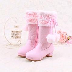 Flicka Stängt Toe Microfiber läder låg klack Stövlar Flower Girl Shoes med pompom