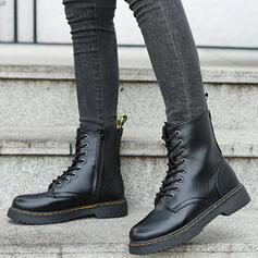 De mujer PU Tacón ancho Martin botas con Cremallera Cordones Color sólido zapatos