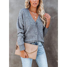 Solid Sequins V-Neck Casual Cardigan