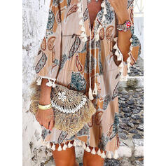 Print 3/4 Sleeves/Flare Sleeves Shift Above Knee Casual/Boho/Vacation Tunic Dresses