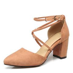 Dla kobiet Zamsz Obcas Slupek Czólenka Zakryte Palce Z Klamra obuwie