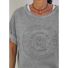 Solid Rund hals Korte ærmer Casual T-shirts