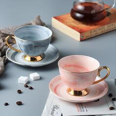 Delicado Chic Cerâmica Xícara de café com Pires